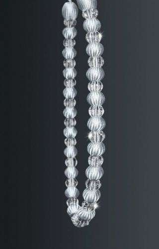 One Crystal Beaded Modern Curtain Rope Tie Back, Decorative Holdback, Silver